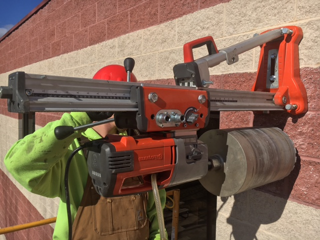 core drilling into side of building
